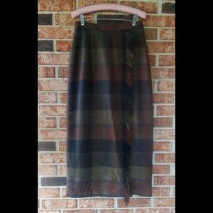Worthington Plaid Fringe Long Midi Skirt 8